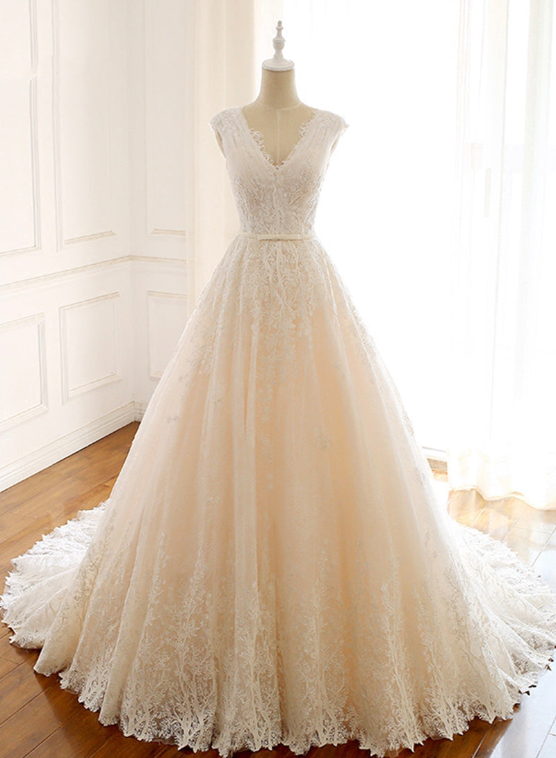 Champagne tulle lace long prom gown formal dress