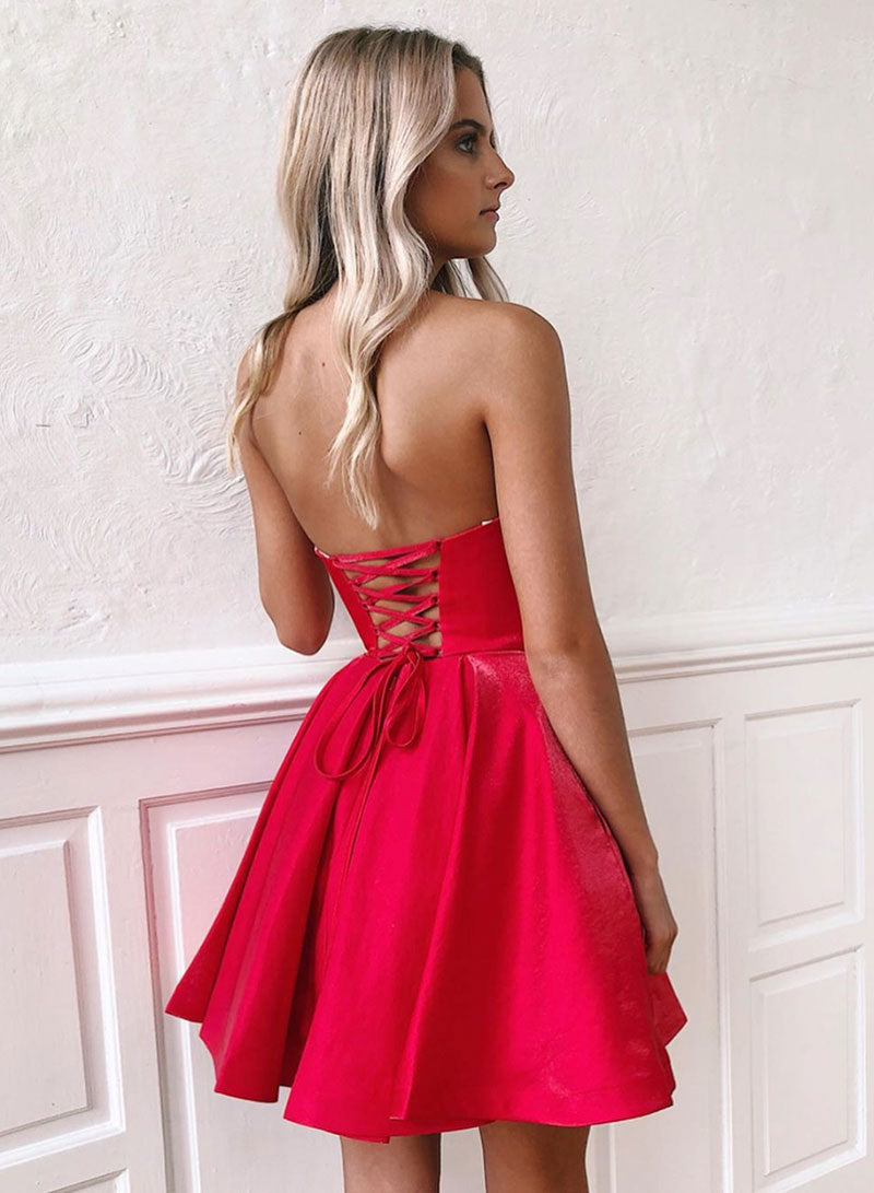 Red sweetheart neck satin short prom dress, homecoming dress