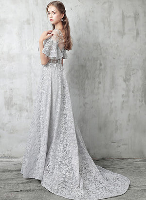 Gray lace round neck long prom dress, evening dress