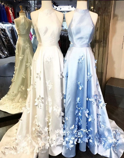 Unique round neck long prom dress, evening dress
