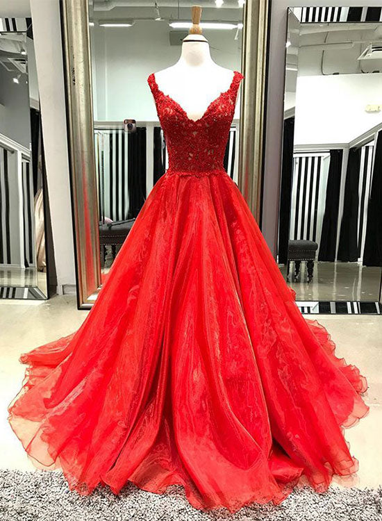 Red v neck lace long prom dress, red evening dress – trendty
