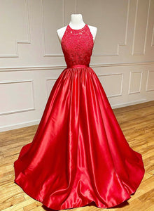 Red satin lace long prom gown evening dress