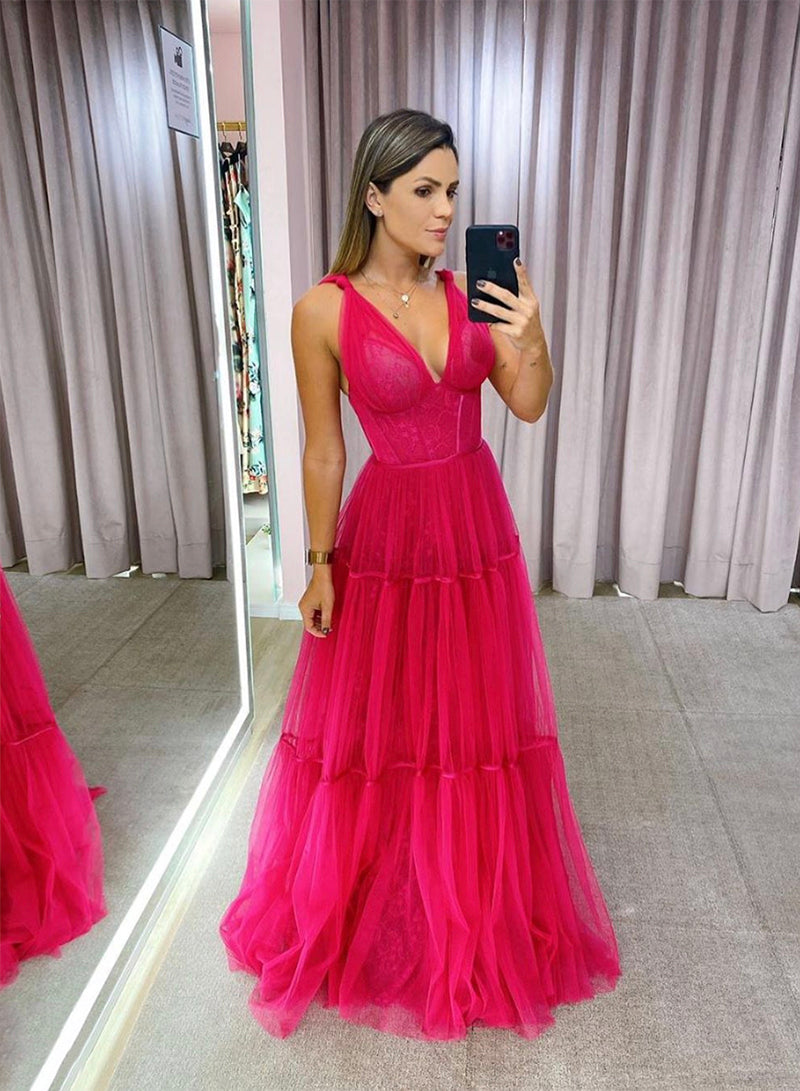 Red v neck tulle long prom dress evening dress