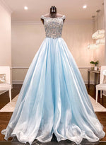Blue chiffon beads long prom gown