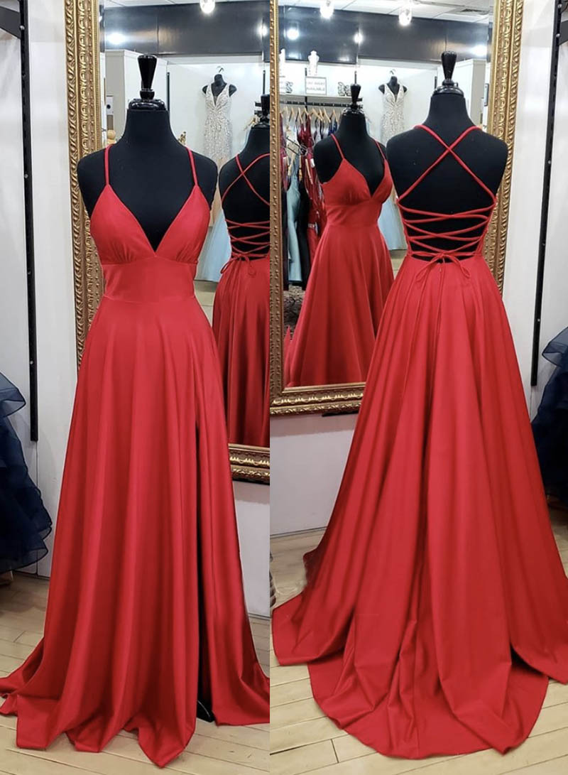 Red long prom dress simple evening dress