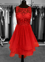 Red chiffon lace short prom dress cocktail dress