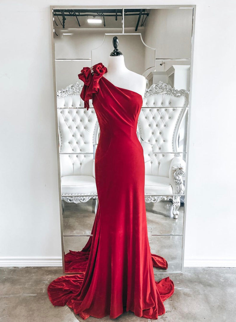 Red velvet long prom dress one shoulder evening dress