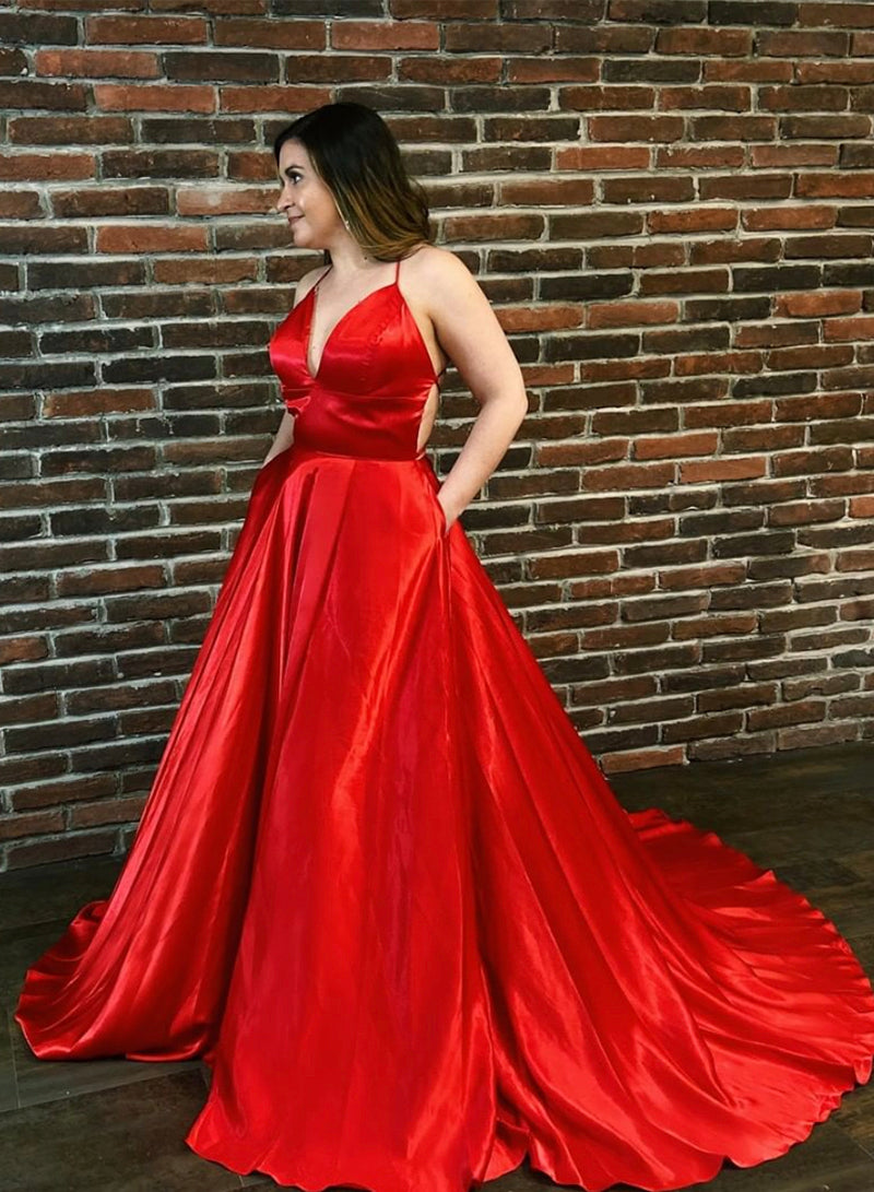 Red v neck satin long prom dress evening dress