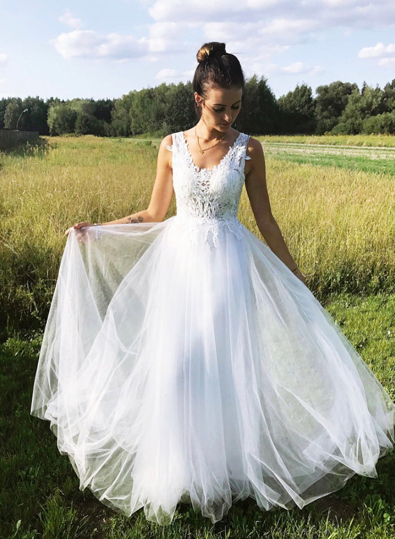 White v neck tulle lace prom dress evening dress