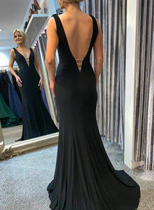 Black long prom dress mermaid evening dress