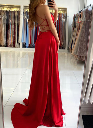 Red v neck long prom dress simple evening dress