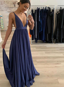 Blue v neck long prom dress simple evening dress