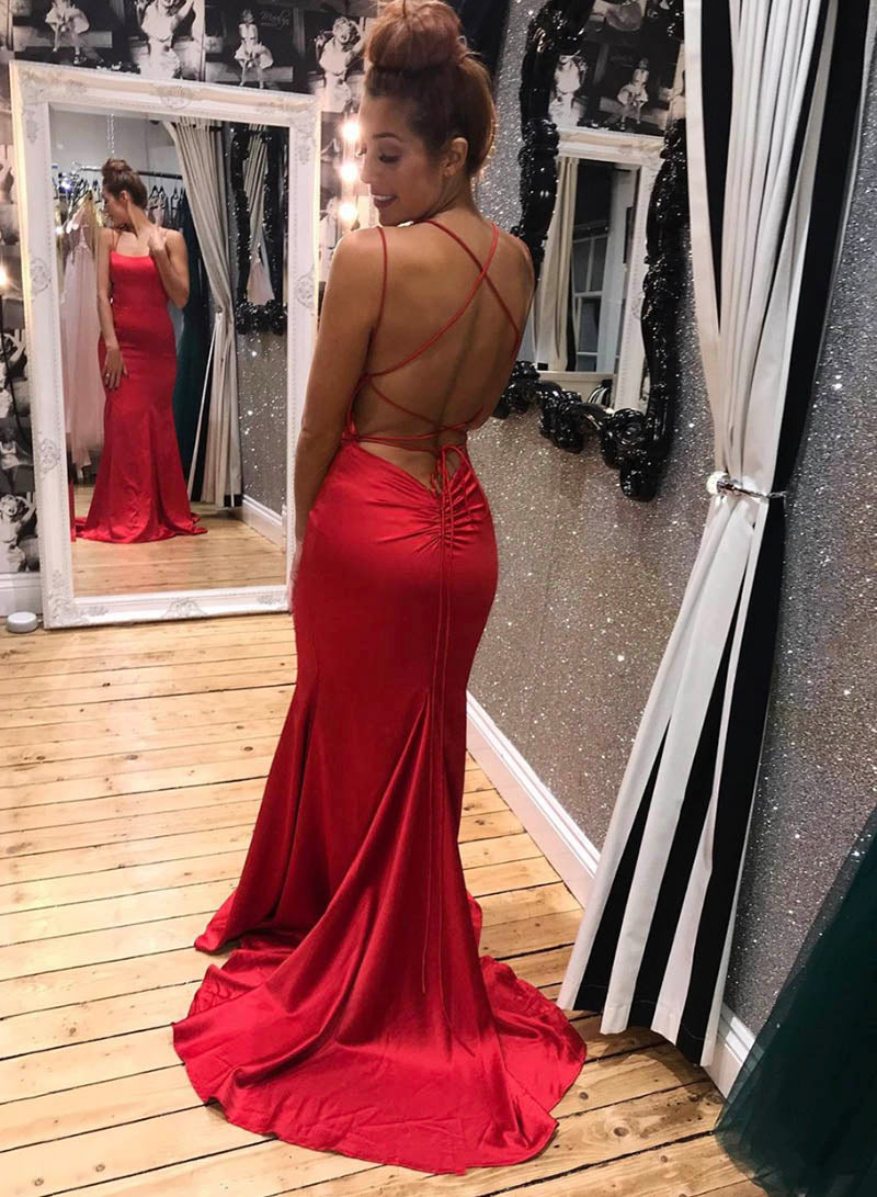Mermaid satin prom dress simple evening dress