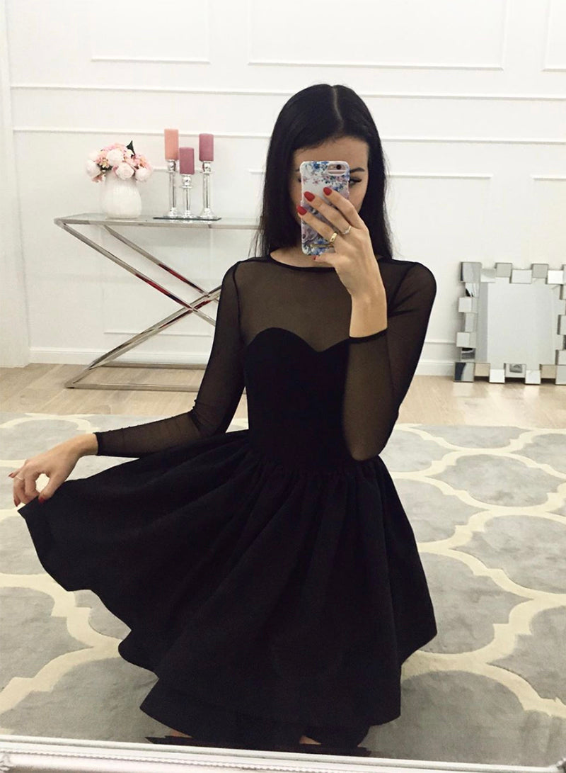 Black short prom dress long sleeve evening dress