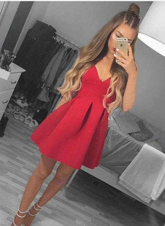 Cute red v neck short prom dress, red homecoming dresses
