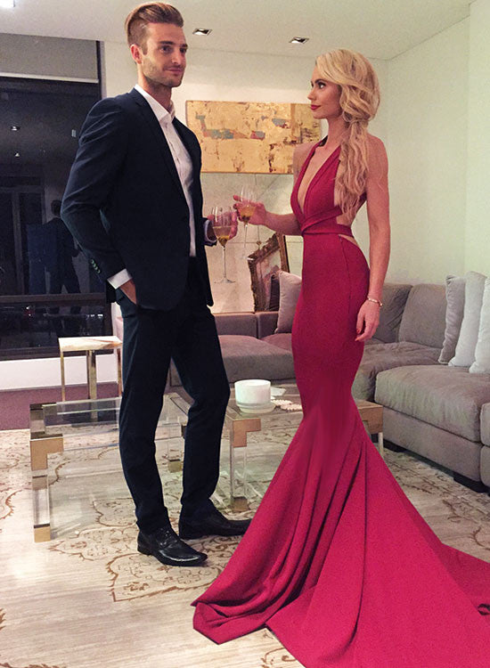 Red mermaid v neck long prom dress, red evening dress