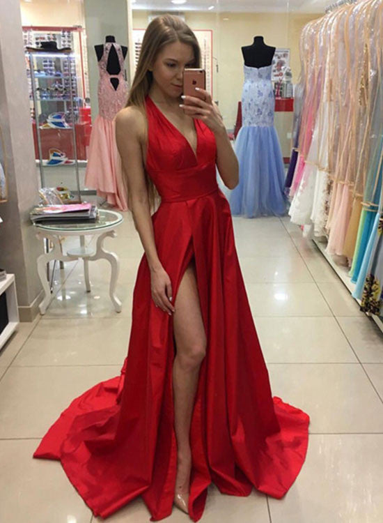 Stylish A-line v neck  long prom dress with slit, red formal dresses
