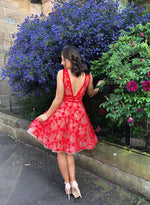 Red v neck lace short prom dress cocktail dress