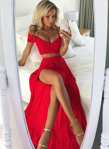 Red two pieces chiffon long prom dress, red evening dress