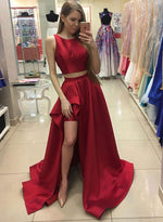 Red two pieces long prom dress, red formal dress
