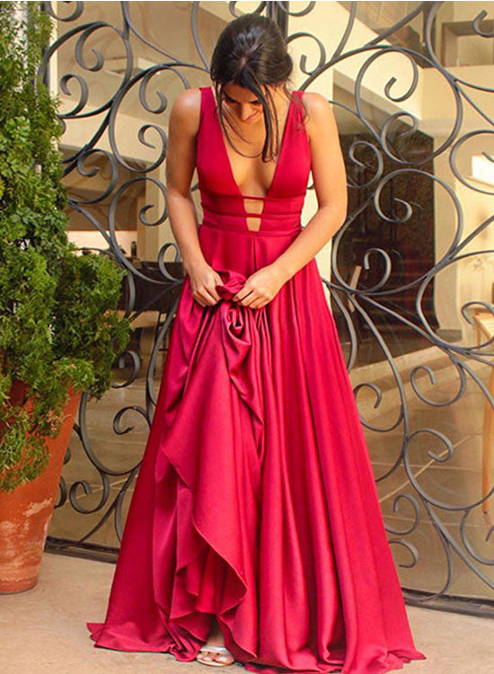Red v neck long prom dress, red evening dresses