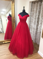 Red v neck tulle prom dress, red evening dress