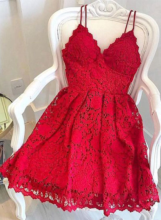 Red lace v neck short prom dress, homecoming dress
