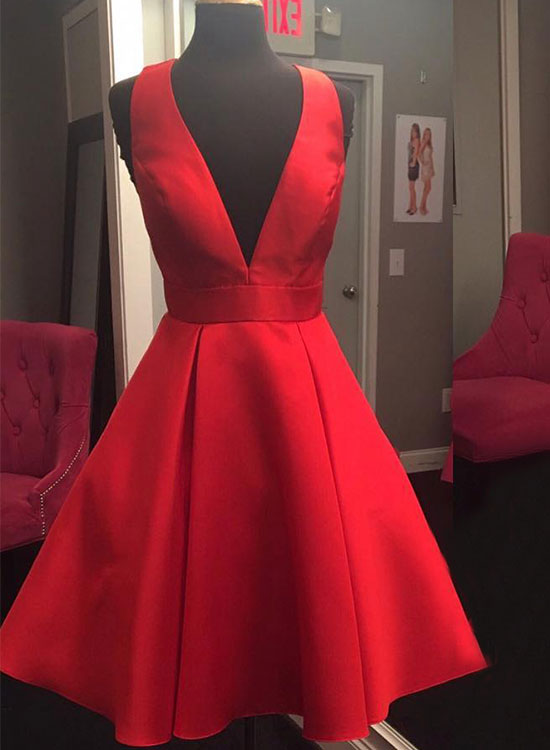 Cute red v neck short prom dress, homecoming dress