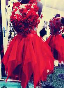 Red round neck tulle short prom dress, red homecoming dress
