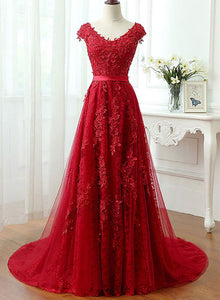 Red lace tulle A lone long prom dress, red evening dress