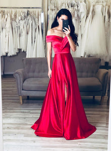 Simple red satin long prom dress, red evening dress