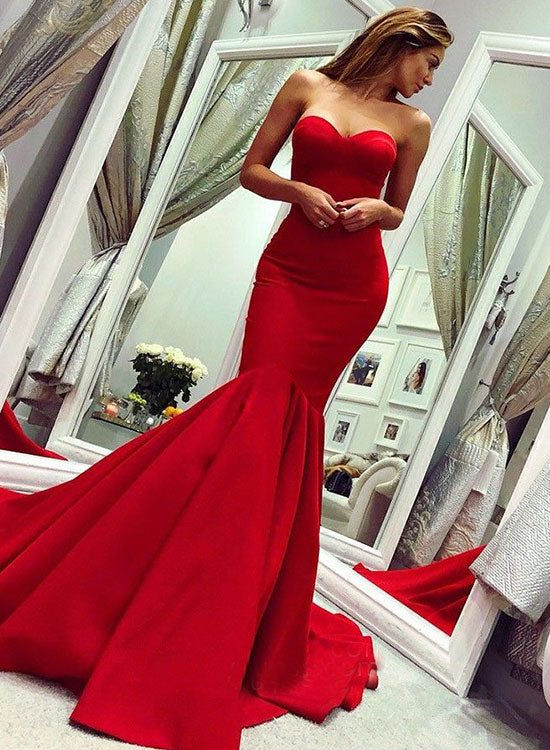 Red mermaid sweetheart neck long prom dress, red evening dress