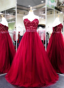 Red sweetheart neck lace long prom dress, evening dress