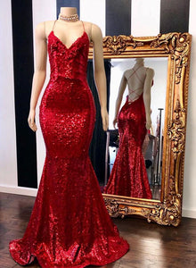 Red v neck sequins long prom dress, mermaid evening dress