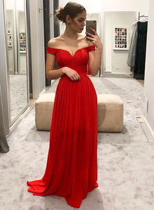Red chiffon lace long prom dress, red evening dress