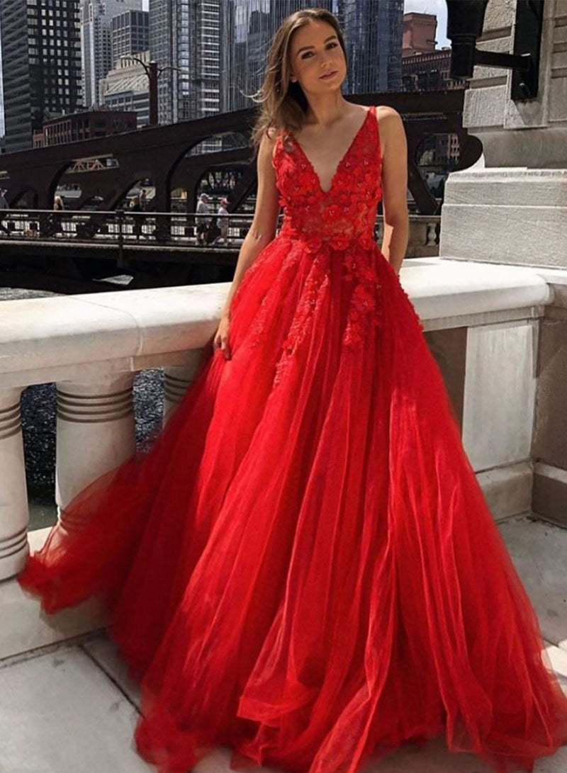 Red v neck tulle lace long prom dress red evening dress