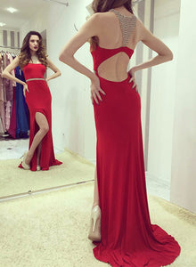 Stylish red  mermaid long prom dress, red evening dress