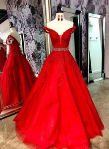 Red v neck tulle lace long prom dress, red off shoulder evening dress