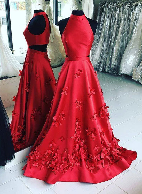 Unique red satin long prom dress, red evening dress
