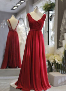 Simple red chiffon long prom dress, A line evening dresses