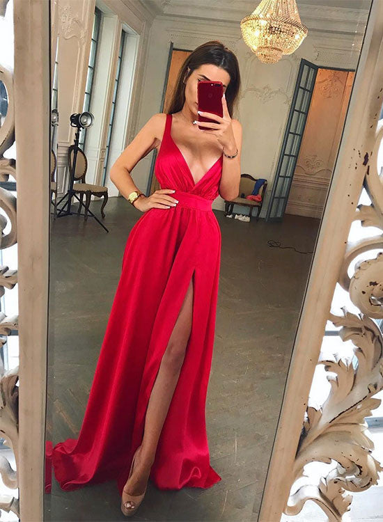 Stylish red v neck A line long prom dress, red evening dresses