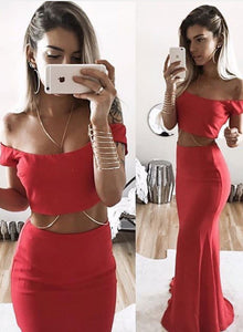 Red two pieces long prom dress, red evening dresses