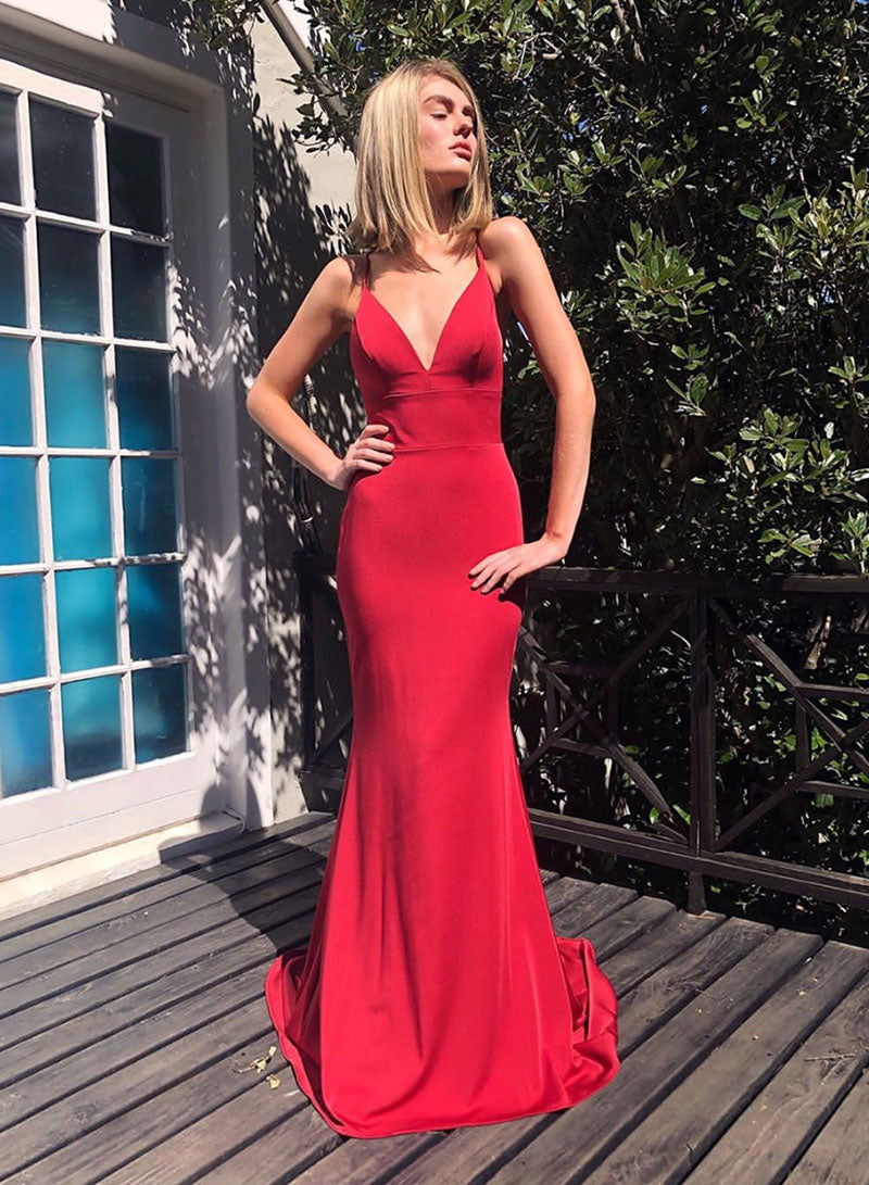 Red backless prom dress mermaid evening dress