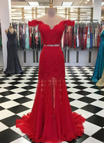 Red lace chiffon long prom dress, two pieces evening dress