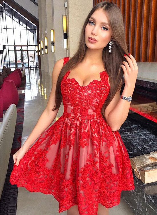 53bd952271 Red lace short prom dress