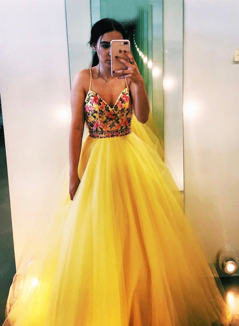 Yellow v neck tulle long prom dress evening dress
