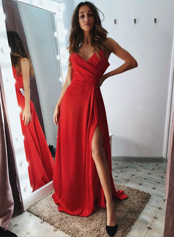 Simple red v neck chiffon long prom dress, red evening dress