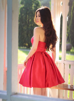 Cute red short prom dress, homecoming dress