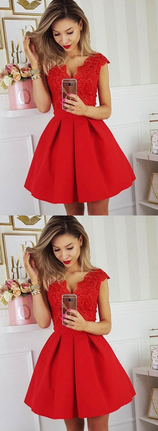 Red v neck satin lace short prom dress, red evening dress