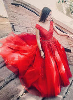 Stylish red v neck tulle lace long prom dress, evening dress